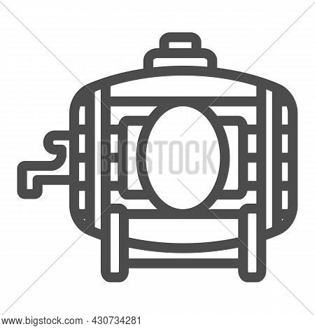 Wooden Wine Barrel With Tap Line Icon, Winery Concept, Winery, Brewery Vector Sign On White Backgrou