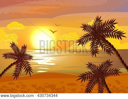Tropical Beach Sunset Exotic Summer Vacation Poster With Evening Sea View And Palms Flat Abstract Ve