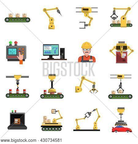 Robot Icons Set With Conveyor Mechanic And Electronics Symbols Flat Isolated Vector Illustration