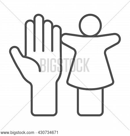 Puppet Doll And The Palm Of The Hand Thin Line Icon, Theater Concept, Puppet Theatre Vector Sign On