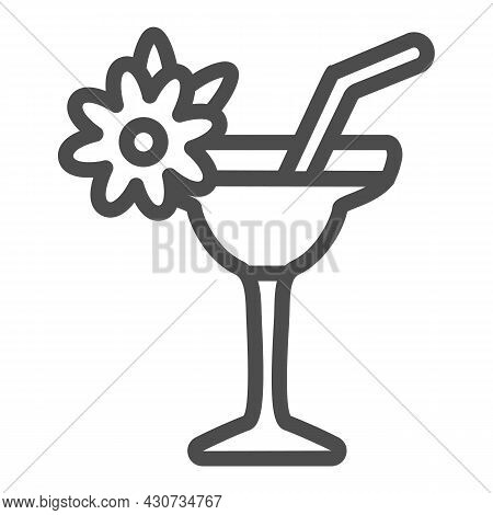 Margarita With Floral Decoration, Garnished Cocktail Line Icon, Bar Concept, Daiquiri Vector Sign On