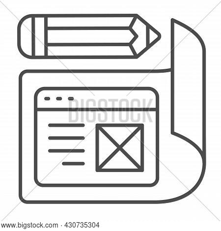 Paper With Website Project And Pencil Thin Line Icon, Web Design Concept, Site Developing Vector Sig