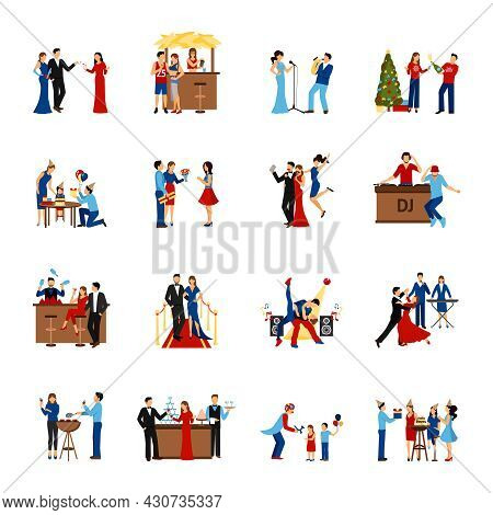 Flat Style Icons Set Of Partying People Like Celebration Meeting Dancing Party And Other Isolated Ve