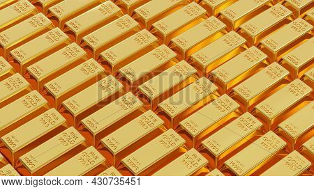 Gold Bar Or Fine Golden Brick Ingot Weight Of Gold Bars 1 Kg Background Lined Up A Lot, Success In B
