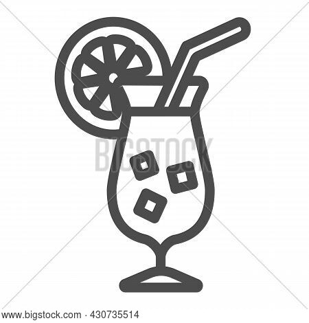 Cocktail Garnished With Orange Slice With Ice Line Icon, Bar Concept, Tropical Drink Vector Sign On