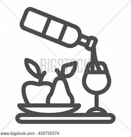 Wine Pouring, Bottle, Wineglass, Bowl Of Fruits Line Icon, Catering Concept, Serving Vector Sign On