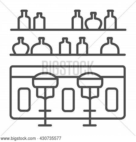 Bar Counter With Stools And Bottles Thin Line Icon, Bars And Pubs Concept, Pub Interrior Vector Sign