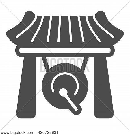 Japanese Gazebo, Gong And Wooden Roof Solid Icon, Architecture Concept, Asian Povilion Vector Sign O