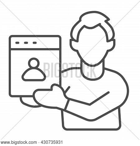 Man Web Designer With Presentation Of Site Project Thin Line Icon, Ui Concept, Developer Vector Sign