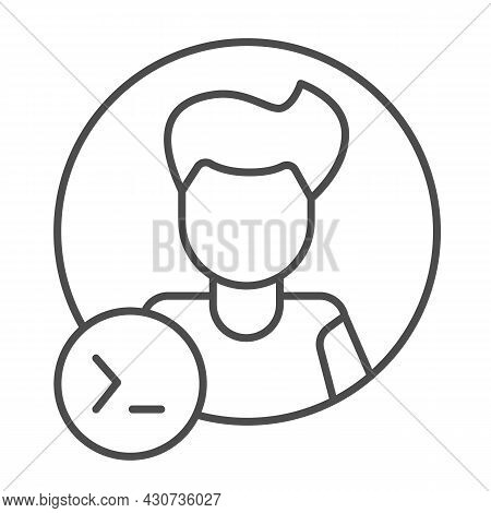 Guy, Command Line In Circle, Backend Developer Thin Line Icon, Ui Concept, Programmer Vector Sign On