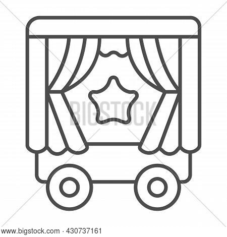 Mobile Puppet Wagon On Wheels, Star Thin Line Icon, Theater Concept, Puppet Theater Wagon Vector Sig