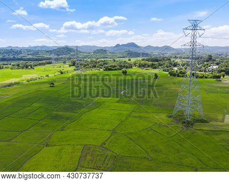 High Voltage Post, High Voltage Tower Sky Background On The Mountain Forest, Electricity Poles And E