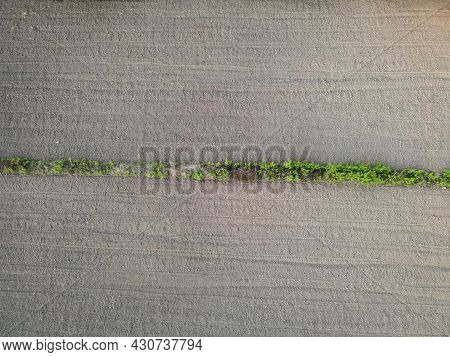Aerial View Field Nature Agricultural Farm Background, Top View Plowed Field From Above Agricultural