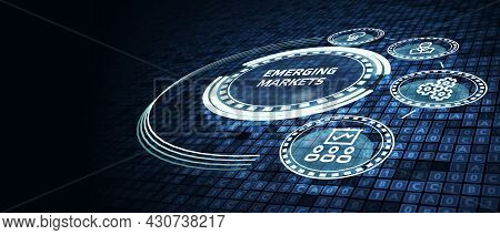 Business, Technology, Internet And Network Concept.  Virtual Screen Of The Future And Sees The Inscr