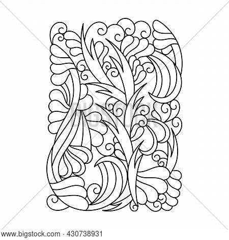 Coloring Pages For Adults And Older Children . Abstract Fantastic Plants And Doodle Elements. Hand-d
