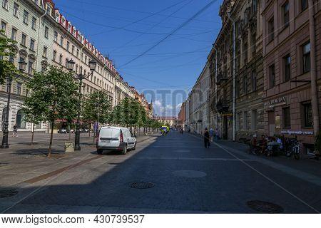St. Petersburg, Russia - July 09, 2021: View Of Malaya Konyushennaya Street In St. Petersburg