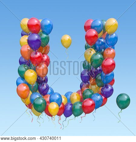 Letter U from balloons in the sky. Text letter for holiday, birthday, celebration. 3d illustration