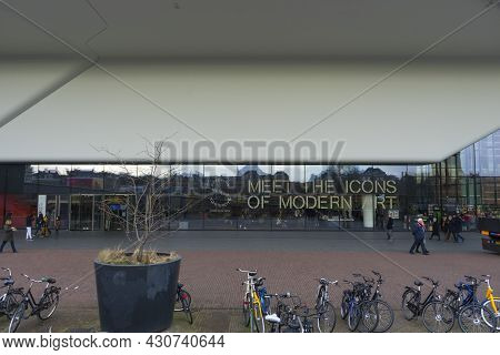 Amsterdam, Netherlands - Nov 29, 2019 : People Visit Famous Stedelijk Museum Located In The Museum P