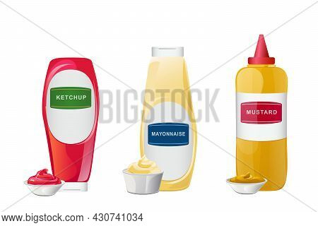 Ketchup, Mayonnaise, Mustard Sauces In Bottles Set. Realistic Vector Illustration Isolated On White