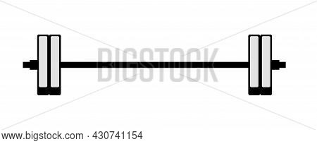 Weightlifter Barbell. Iron For Strength Training. Sports Equipment For Athletes. Isolated On White B