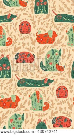 Seamless Pattern With Stylized Dogs With Folk Patterns And Natural Decorations. Vector Animalistic T
