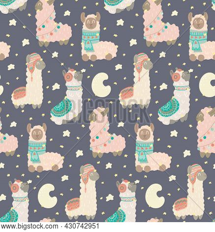 Cute Childish Pattern With Constellations Of Lamas On Dark Gray Background. Animalistic Gentle Textu