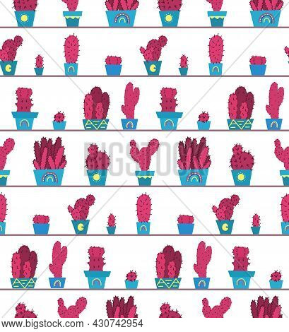 Pattern With Original Cartoon Pink Cactuses In Pots On The Shelves. Hand Drawn Flat Texture Of Home