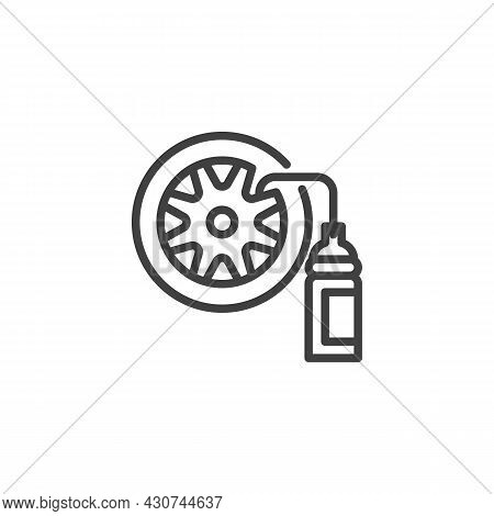 Car Tyre And Nitrogen Bottle Line Icon. Linear Style Sign For Mobile Concept And Web Design. Wheel R