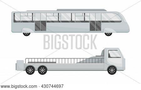 Airport Airfield Vehicles Set. Terminal Bus Shuttle Vector Illustration