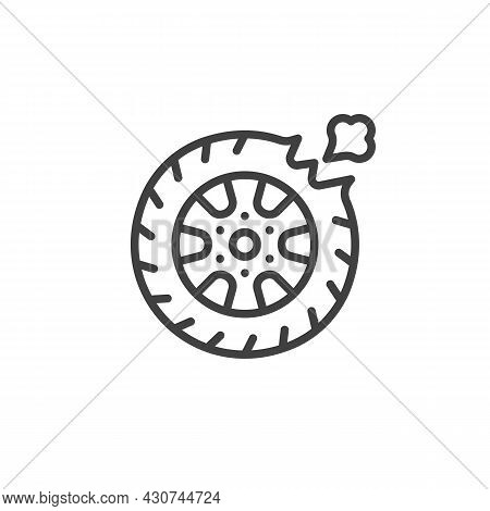 Car Tire Leak Line Icon. Linear Style Sign For Mobile Concept And Web Design. Flat Tyre Outline Vect