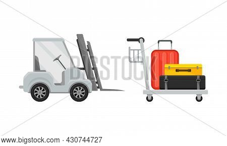 Airport Airfield Vehicles Set. Luggage Cart And Forklift Vector Illustration