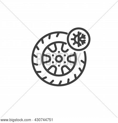 All Season Tyre Line Icon. Linear Style Sign For Mobile Concept And Web Design. Summer And Winter Ty