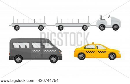 Airport Airfield Vehicles Set. Taxi Cars, Mobile Trolley For Transporting Baggage Vector Illustratio