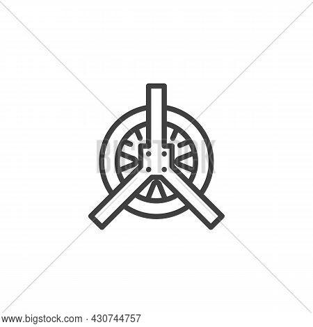 Car Tyre Repair Line Icon. Linear Style Sign For Mobile Concept And Web Design. Wheel Repair Service