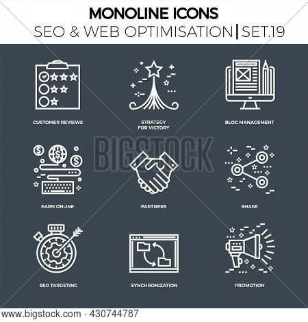 Line Icons Set With Flat Design Of Search Engine Optimization. Strategy For Victory, Customer Review
