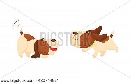 Cute Funny Beagle Dog Sleeping And Walking Set. Cute Adorable Pet Animal Wagging Its Tail And Runnin