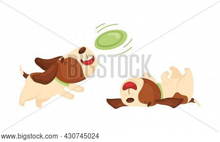 Cute Funny Beagle Dog Sleeping And Walking Set. Cute Adorable Pet Animal Playing And Running Cartoon