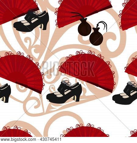 Flamenco Pattern. Castanets, Shoes, A Weather Vane. Spanish Traditional Music. Isolated Black Silhou