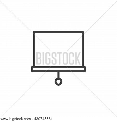Projector Screen Line Icon. Linear Style Sign For Mobile Concept And Web Design. Presentation White