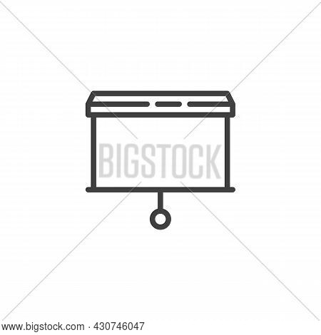 Blank Presentation Screen Line Icon. Linear Style Sign For Mobile Concept And Web Design. Projector
