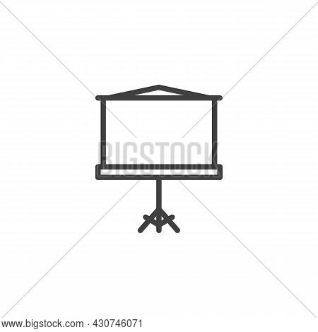 Presentation Projector Screen Line Icon. Linear Style Sign For Mobile Concept And Web Design. Blank