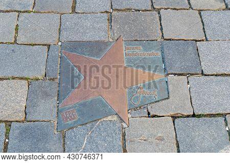 Opole, Poland - June 4, 2021: Star Of Janusz Kondratowicz At Walk Of Fame In Opole Known As Aleja Gw