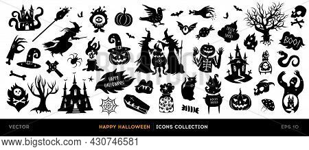 Set Of Halloween Silhouettes. Collection Of Vector Halloween Icon And Character Isolated On A White