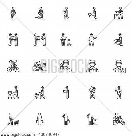 Courier Shipping Service Line Icons Set. Linear Style Symbols Collection, Outline Signs Pack. Delive