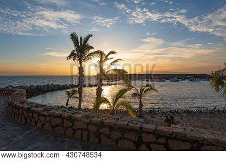 Beautiful Sunset On The Beach Playa San Juan, Tenerife, Canary Island, Spain