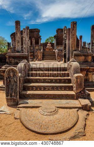 Ancient Vatadage (Buddhist stupa) in ancient city Pollonaruwa in Quadrangle group, Pollonaruwa, Sri Lanka