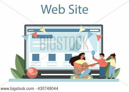 Kindergartener Online Service Or Platform. Professional Nany And Children.