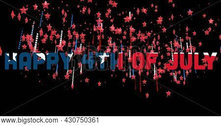 Image of a text Happy 4th Of July made with U.S. flag with red and blue stars floating on black background. U.S.A flag independence day concept digital composition