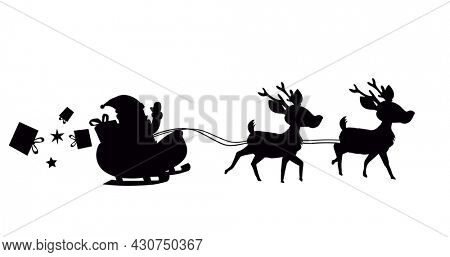Digital image of black silhouette of santa claus and christmas gift boxes in sleigh being pulled by reindeers against white background. christmas festivity celebration tradition concept