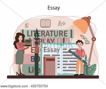 Literature School Subject. Study Ancient Writer And Modern Novel.